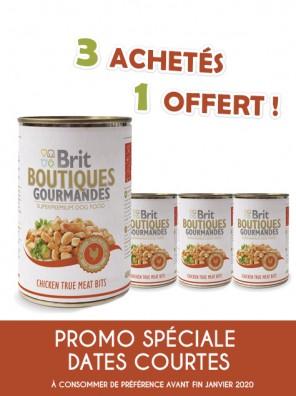 BRIT Boutiques Gourmandes - Pâtée pour chiens au poulet (DLUO 01/2020) 3+1 offerte