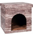 Maison pour chat cabane aspect bois