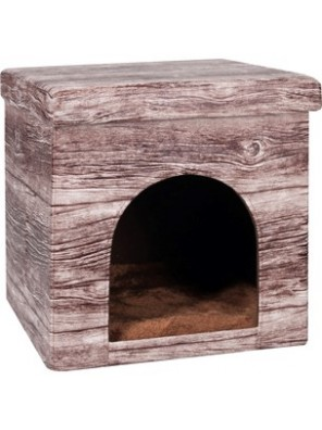 Cabane pliable pour chat aspect bois (38x38x37cm)