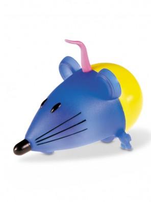 Souris oscillante en plastique, bleu et jaune (11cm) - Jouet pour chat VADIGRAN