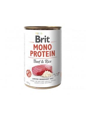 BRIT MONO PROTEIN Pâtée pour chien au bœuf et au riz (DLUO 07/2020) 400g