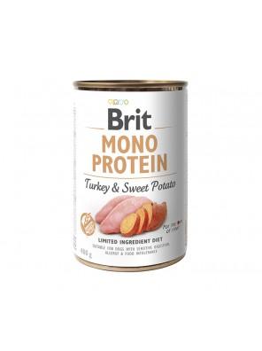 BRIT MONO PROTEIN Pâtée pour chien à la dinde et à la patate douce (DLUO 07/2020) 400g