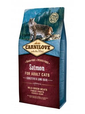 CARNILOVE CAT Salmon, Peaux sensibles et poils longs (sac abîmé) 6 kg