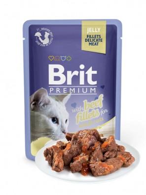BRIT PREMIUM Cat Delicate - Aliment en gelée pour chats au bœuf (DLUO 02/2020) 85g
