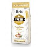 BRIT FRESH Chien adulte, Poulet et pommes de terre (10+2kg offerts)