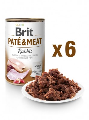 Lot de 6x BRIT PATE & MEAT Lapin (DLUO 07/2020) 6x400g