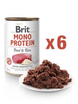 Lot de 6x BRIT MONO PROTEIN Pâtée pour chien, Bœuf et riz (DLUO 07/2020) 6x400g