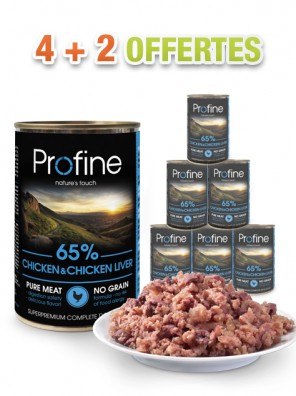 PROFINE Pâtée chien - Chicken & Chicken Liver (lot de 6x400g)