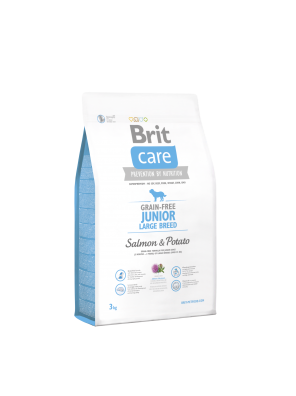 BRIT CARE Grain Free Junior Large Breed, Salmon & Potato (DLUO 07/2019) 3 kg