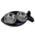 Mangeoire pour chats en forme de poisson noir