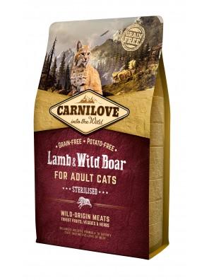 CARNILOVE CAT Lamb & Wild Boar, Chat stérilisé (sac abîmé) 6 kg