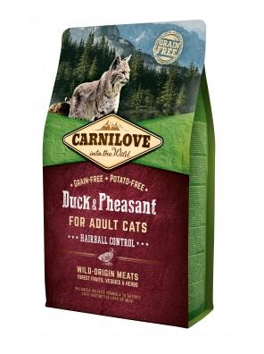 CARNILOVE CAT Duck & Pheasant, contrôle des boules de poils (sac abîmé) 6 kg