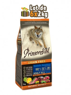 PRIMORDIAL Adult Dog - Thon & Agneau, 12kg (LOT DE 6x2kg)