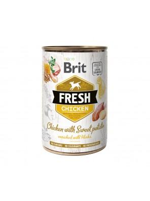 BRIT FRESH Pâtée chien, Poulet et patate douce (400g)