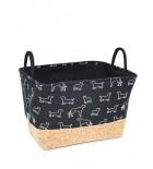 Panier de rangement BeOneBreed - Noir avec motif chiens