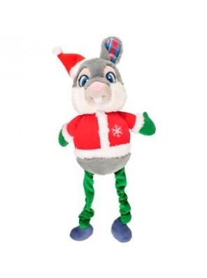 Lapin de Noël en peluche avec jambes élastiques 51 cm