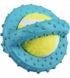 Disque en caoutchouc avec balle de tennis bleu 8 cm
