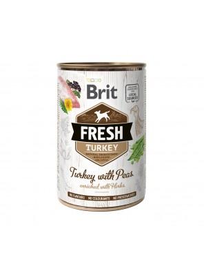 BRIT FRESH Pâtée chien, Dinde et pois (400g)