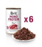 Lot de 6x BRIT MONO PROTEIN Pâtée pour chien, Bœuf (DLUO 07/2020) 6x400g