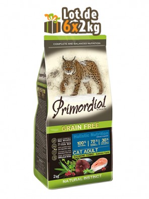 PRIMORDIAL Adult Cat - Saumon & Thon, 12kg (LOT DE 6x2kg)