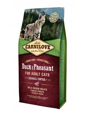 CARNILOVE CAT Duck & Pheasant, Contrôle des boules de poils