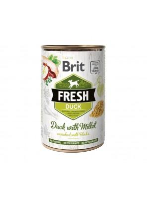 BRIT FRESH Pâtée chien, Canard et millet (400g)